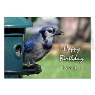 Birthday for Nonni, Blue Jay at Bird Feeder Card