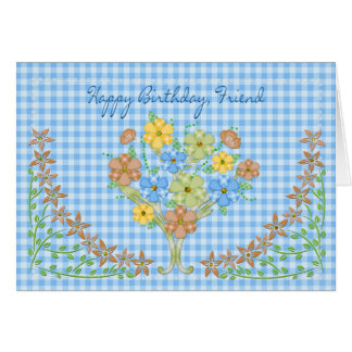 BIRTHDAY - FRIEND - BLUE GINGHAM/FLOWERS CARD