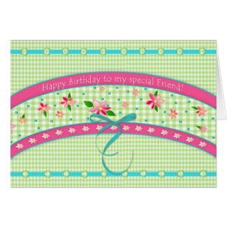 Birthday/Friend -Sweet Gingham/Pink Flowers Card