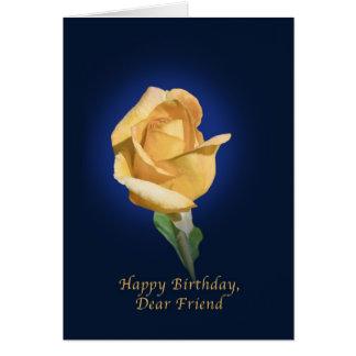 Birthday,  Friend, Yellow Rose Bud Card