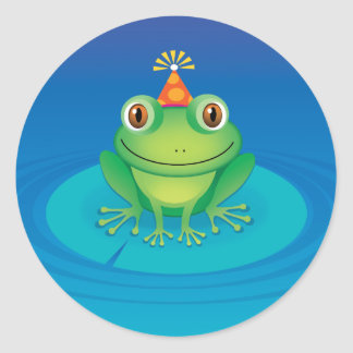 Birthday Frog Round Sticker