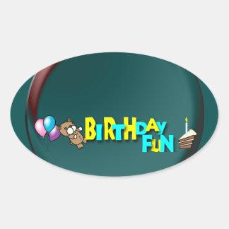 Birthday Fun Oval Sticker