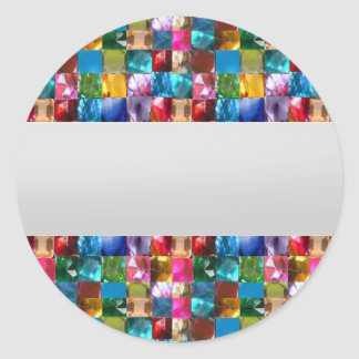 BIRTHDAY GEMS JEWELS PEARLS Border Frames Classic Round Sticker