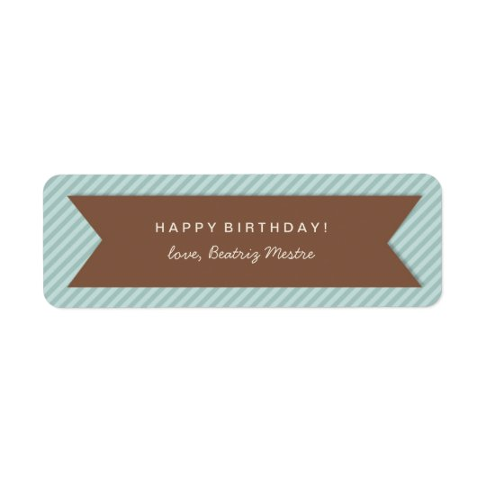 Birthday Gift Tag Labels on Blue Stripes