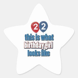 Birthday Girl 22 Star Sticker