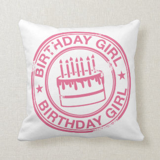 Birthday Girl 2 tone rubber stamp effect -pink- Cushions