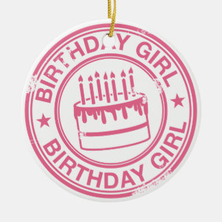 Birthday Girl 2 tone rubber stamp effect -pink- Round Ceramic Decoration
