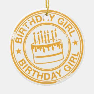 Birthday Girl 2 tone rubber stamp effect -yellow- Round Ceramic Decoration