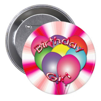 Birthday Girl Balloons Button