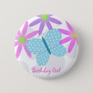 Birthday Girl Butterfly Button