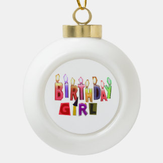 Birthday Girl Colorful Candles Collage Ornaments