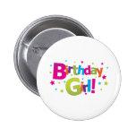 Birthday girl colourful Tshirt Pinback Button
