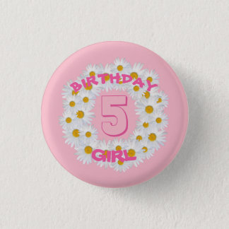Birthday Girl Daisy Ring 3 Cm Round Badge