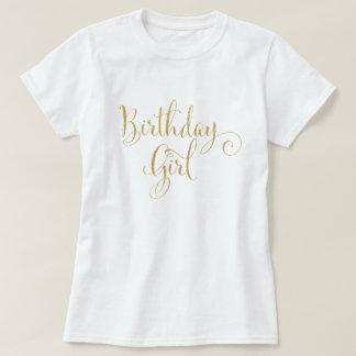 Birthday Girl Gold Glitter Look Whimsical Script T-Shirt
