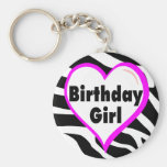 Birthday Girl (Heart Zebra Stripes) Basic Round Button Key Ring