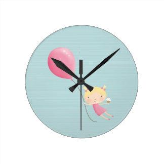 Birthday girl in air clock