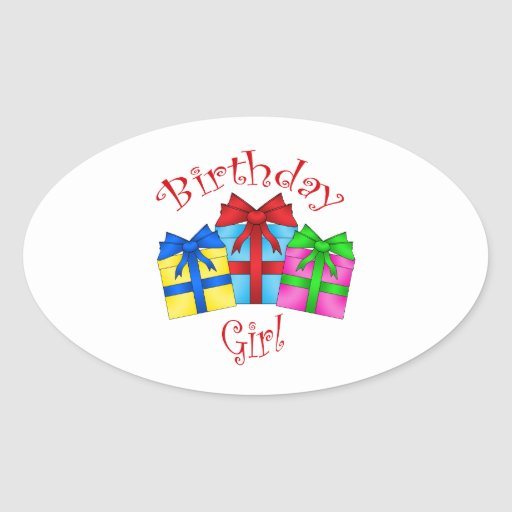 Birthday girl in red with presents oval sticker
