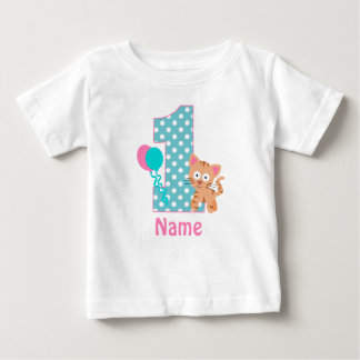 Birthday Girl Kitty Cat Teal Personalized Shirt