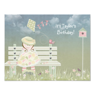 Birthday Girl on bench Card