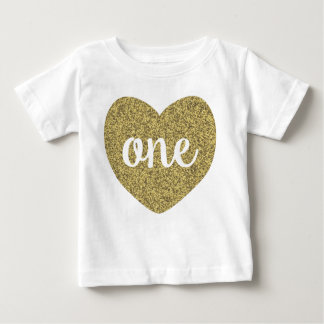 Birthday Girl One Gold Faux Glitter Shirt
