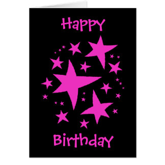 Birthday girl pink and black card