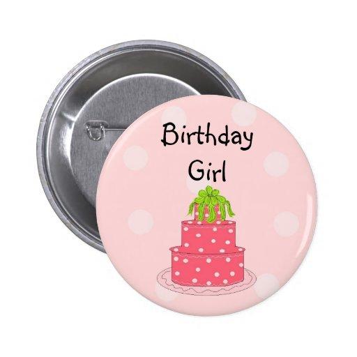 Birthday Girl - Pink Cake Pins