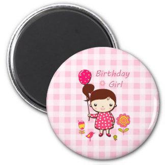 Birthday Girl Pink Pattern Balloon Flower Cartoon Magnet
