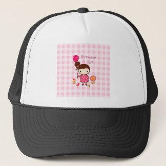 Birthday Girl Pink Pattern Balloon Flower Cartoon Trucker Hat
