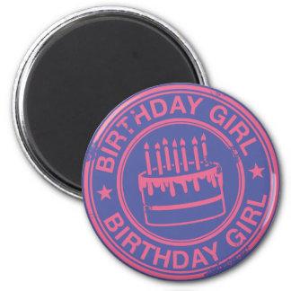 Birthday Girl -pink rubber stamp effect- 6 Cm Round Magnet