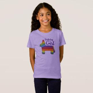 Birthday Girl Rainbow Piñata Purple Donkey Fiesta T-Shirt