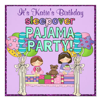Birthday Girl Sleepover Pajama Party Card