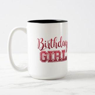 Birthday Girl text Design Two-Tone Coffee Mug