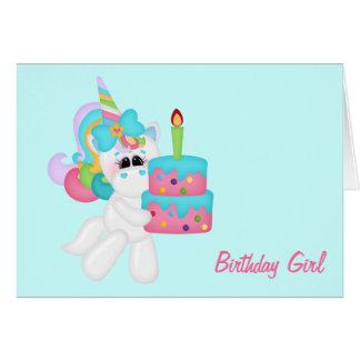 Birthday Girl Unicorn (customizable) Card