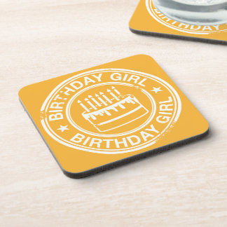 Birthday Girl -white rubber stamp effect- Beverage Coasters
