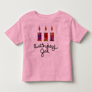 Birthday Girl With 3 Multi-Color Candles Toddler T-Shirt
