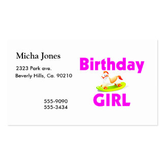 Birthday Girl With Rocking Horse Pack Of Standard Business Cards