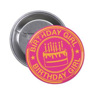 Birthday Girl -yellow rubber stamp effect- 6 Cm Round Badge