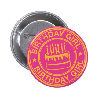 Birthday Girl -yellow rubber stamp effect- Buttons
