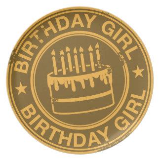 Birthday Girl -yellow rubber stamp effect- Dinner Plate