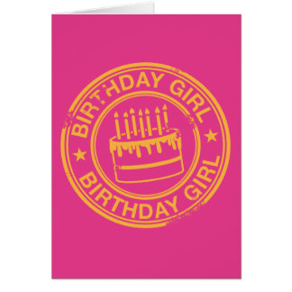 Birthday Girl -yellow rubber stamp effect- Greeting Card
