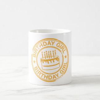Birthday Girl -yellow rubber stamp effect- Coffee Mugs