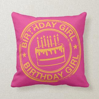 Birthday Girl -yellow rubber stamp effect- Throw Cushion