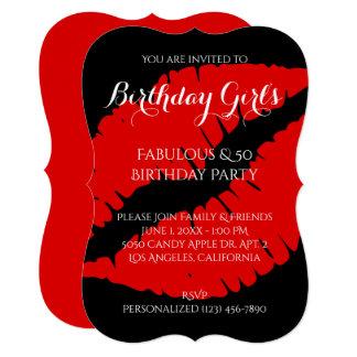 Birthday Girl's Fabulous & 50 Bright Red Lipstick Card