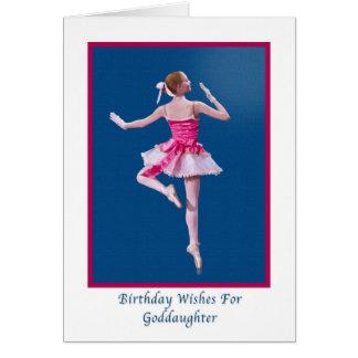 Birthday, Goddaughter, Ballerina on Blue Card