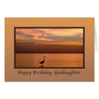 Birthday,  Goddaughter, Ocean View at Sunset Card