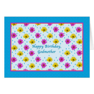 Birthday, Godmother, Pink and Yellow Daisies Card