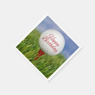birthday golf ball on red tee disposable napkin