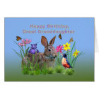 Birthday, Granddaughter, Bunny, Butterflies, Robin Card