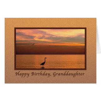 Birthday, Granddaughter, Ocean View at Sunset Card