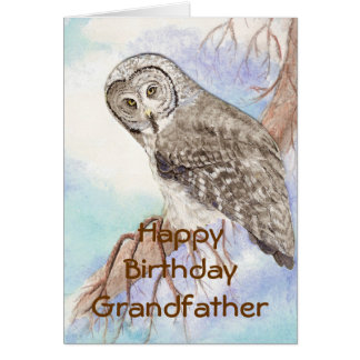 Birthday Grandfather Great Gray Owl, Bird Nature Card